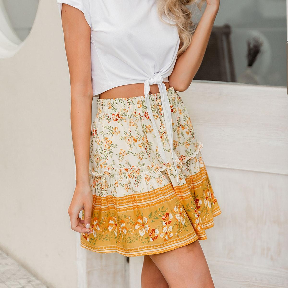 Цветочная юбка с узлом и складкой