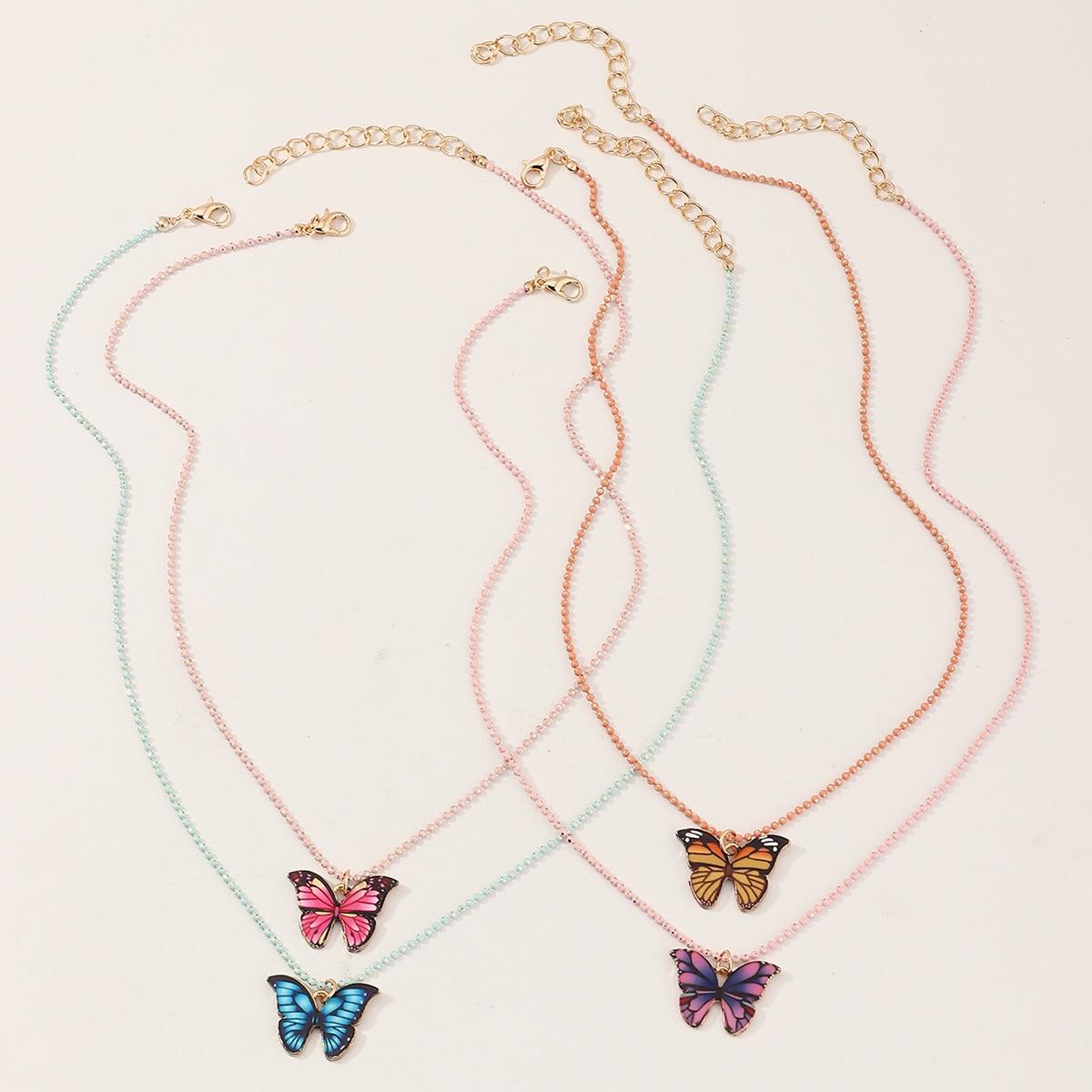 4 Stücke Kleinkind Mädchen Halskette mit Schmetterling Anhänger und Perlen
