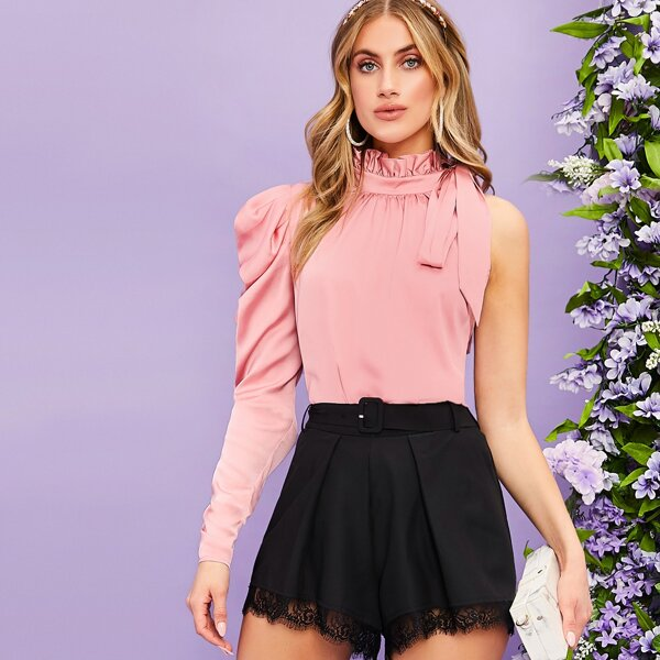 Frill Detail Tie Neck One Gigot Sleeve Satin Blouse, Pink