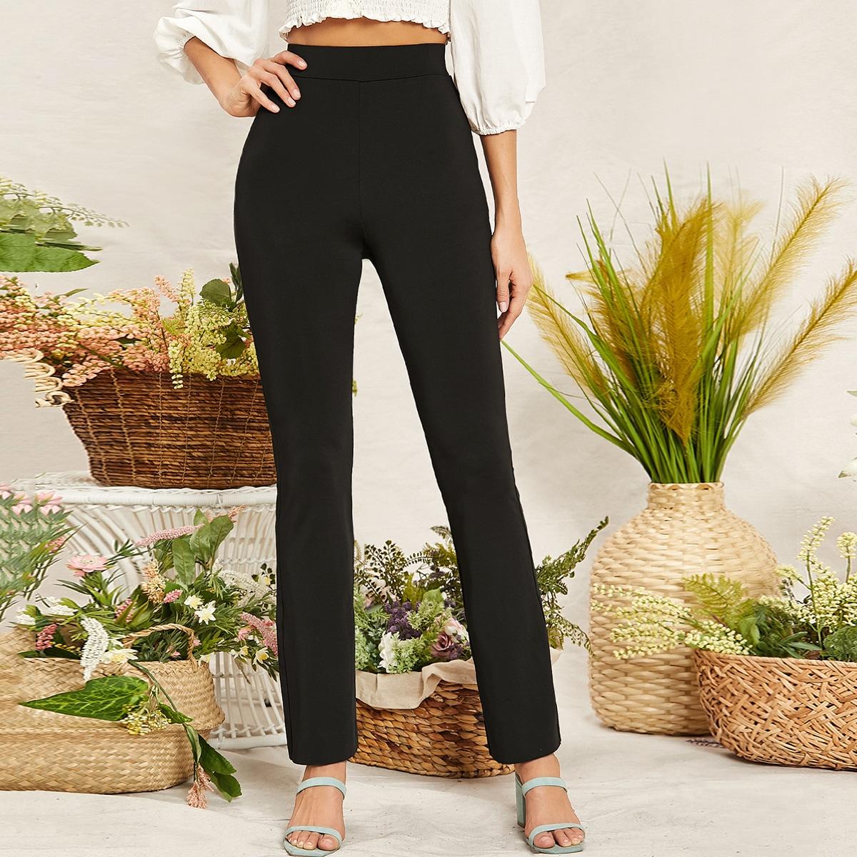 Однотонные брюки с высокой талией