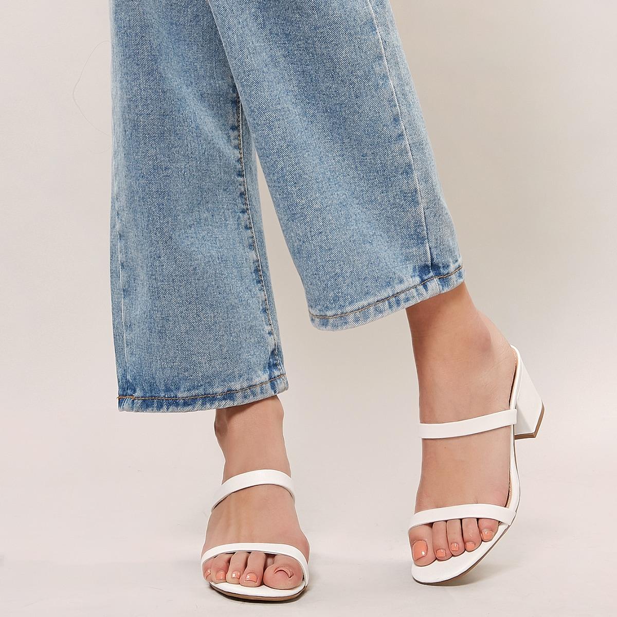 Мюли на каблуках с открытым носком