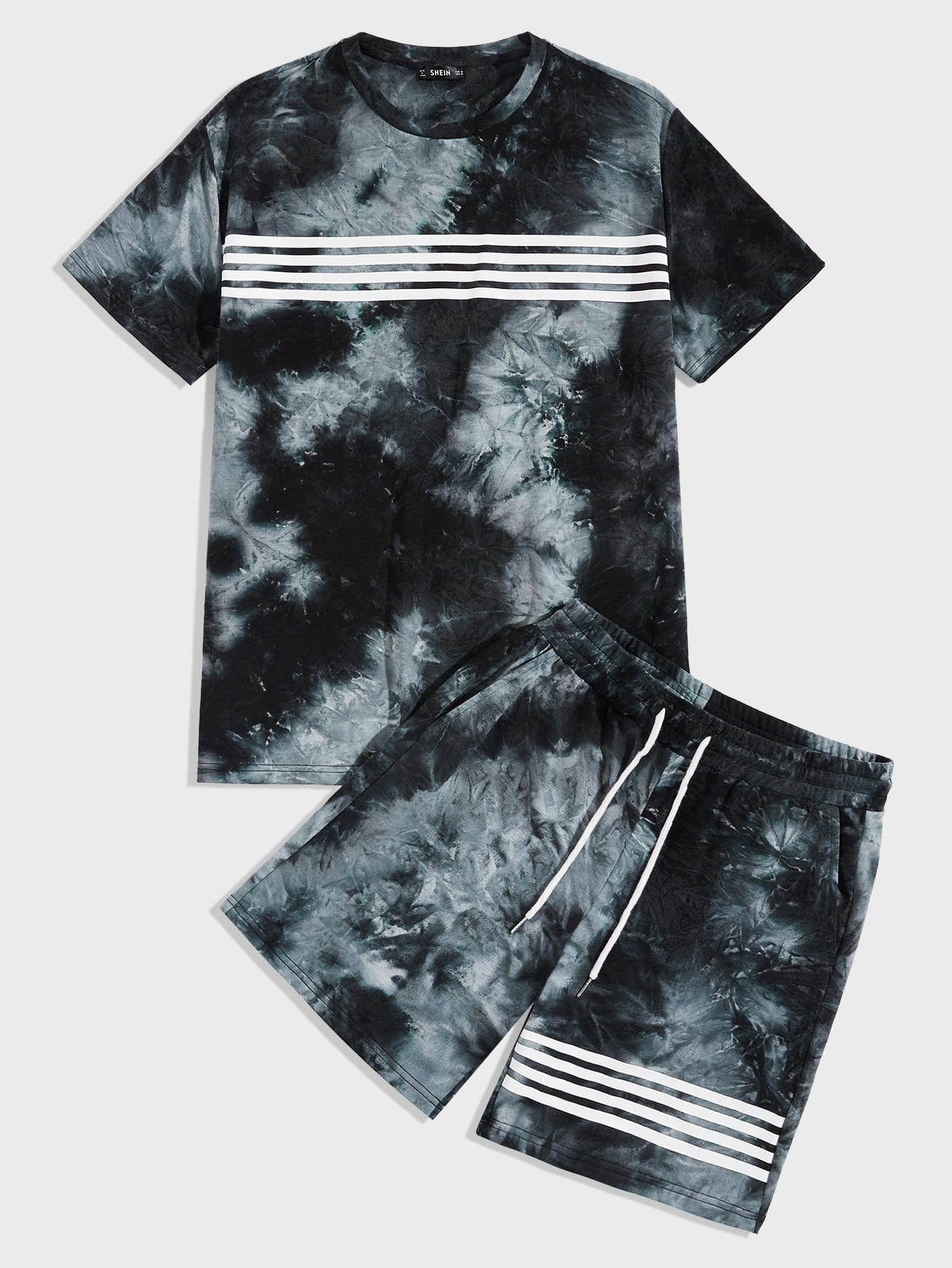 Romwe Girls 2 Piece Outfit Tie Dye Workout Short Sleeve Hoodie and Shorts Set