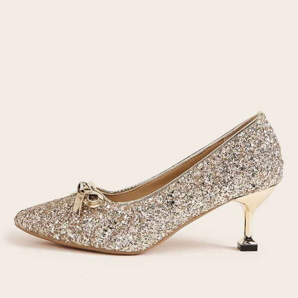 Glitter Bow Decor Point Toe Stiletto Heels, Gold