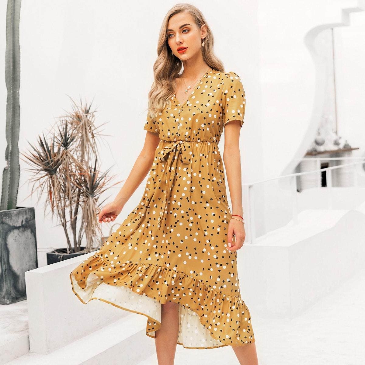 платье в горошек с узлом и оборками