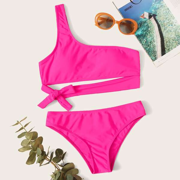 Neon Pink Tie Front One Shoulder Bikini Swimsuit, Pink bright