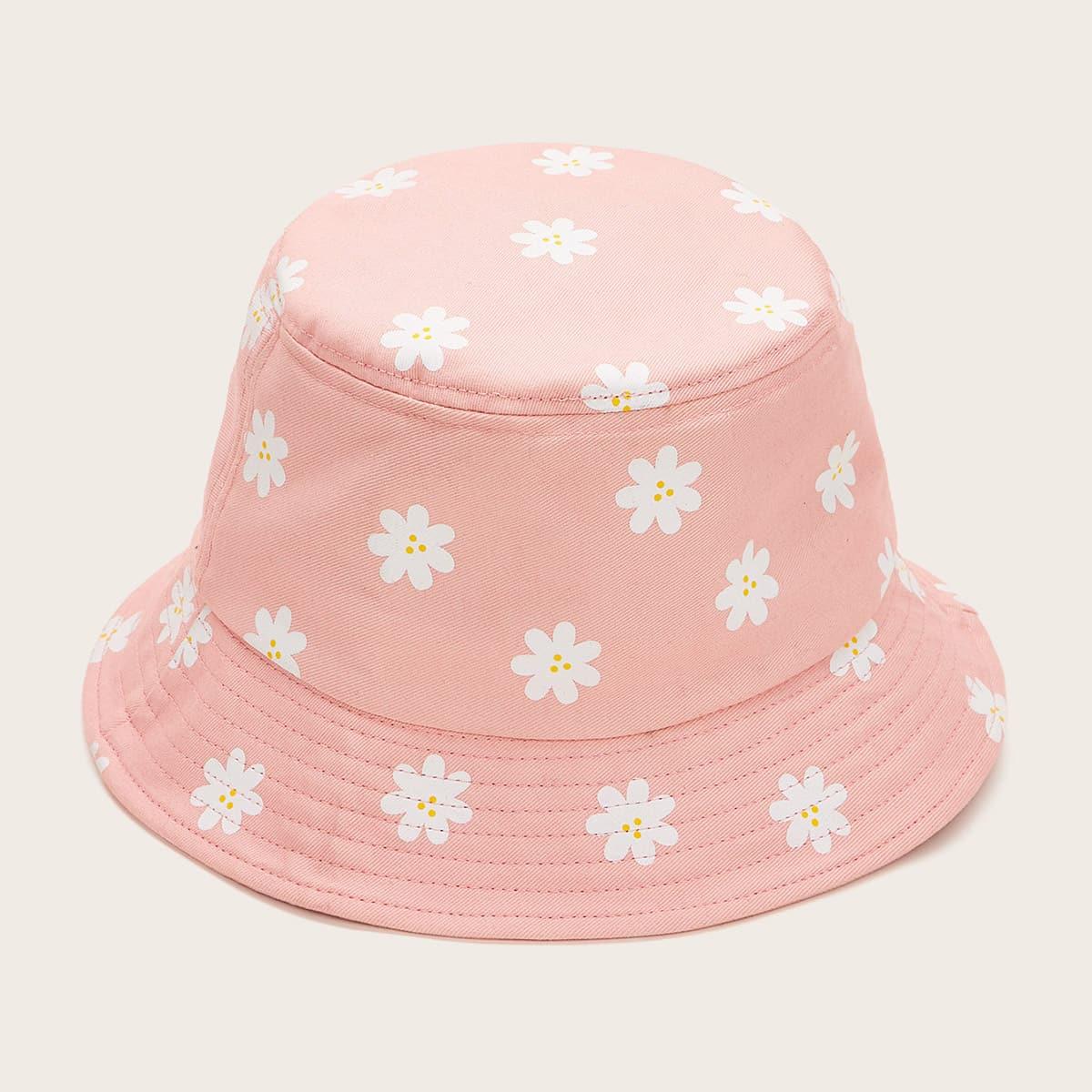 Ведро шляпа с цветочной вышивкой