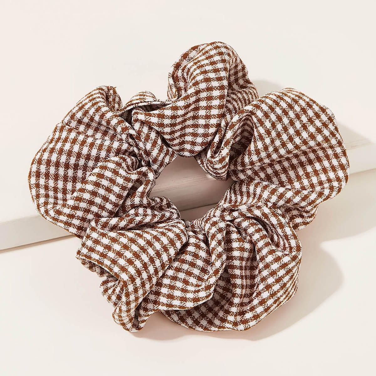 1pc Gingham Pattern Scrunchie