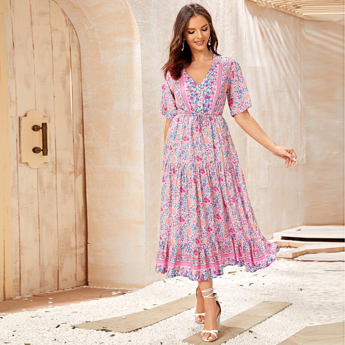 Цветочное платье с оборками на кулиске