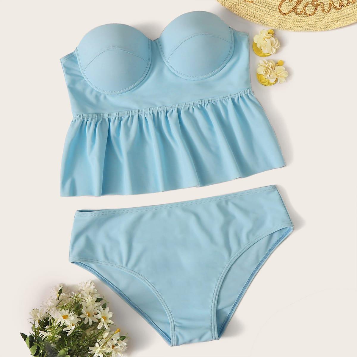 Bandeau Bikini mit Bügel und Raffungsaum