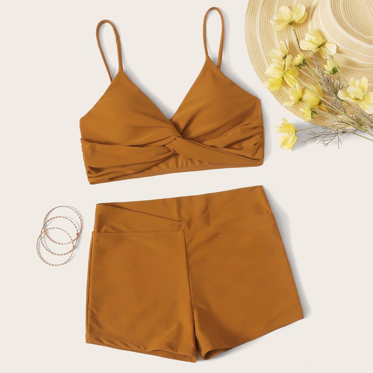 Bikini Set mit Rüsche und Twist