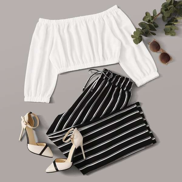 Solid Bardot Top With Striped Pants, Black and white