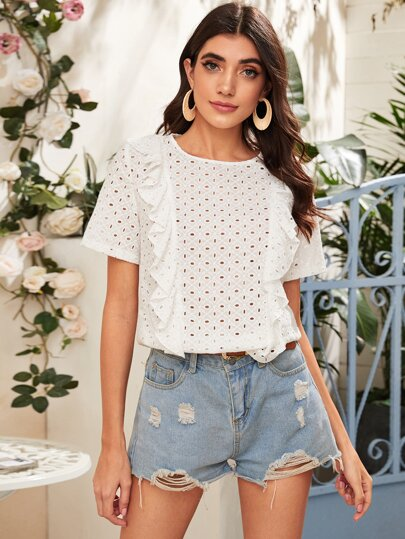 Eyelet Embroidery Ruffle Trim Schiffy Blouse