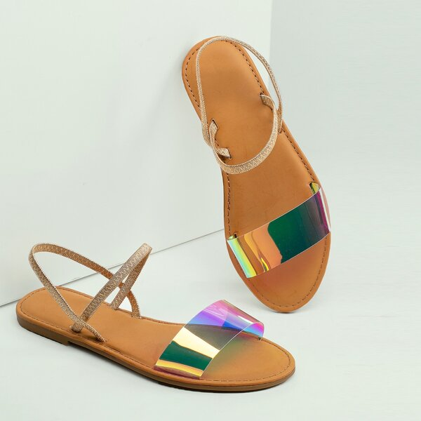 Iridescent Open Toe Band Stretchy Gladiator Sandals, Multicolor