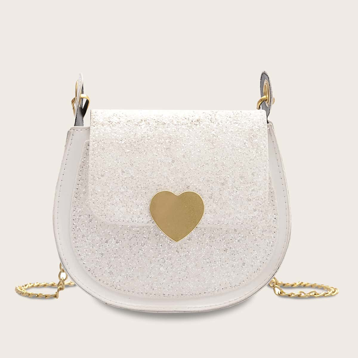 Girls Heart Design Buckle Glitter Flap Chain Bag