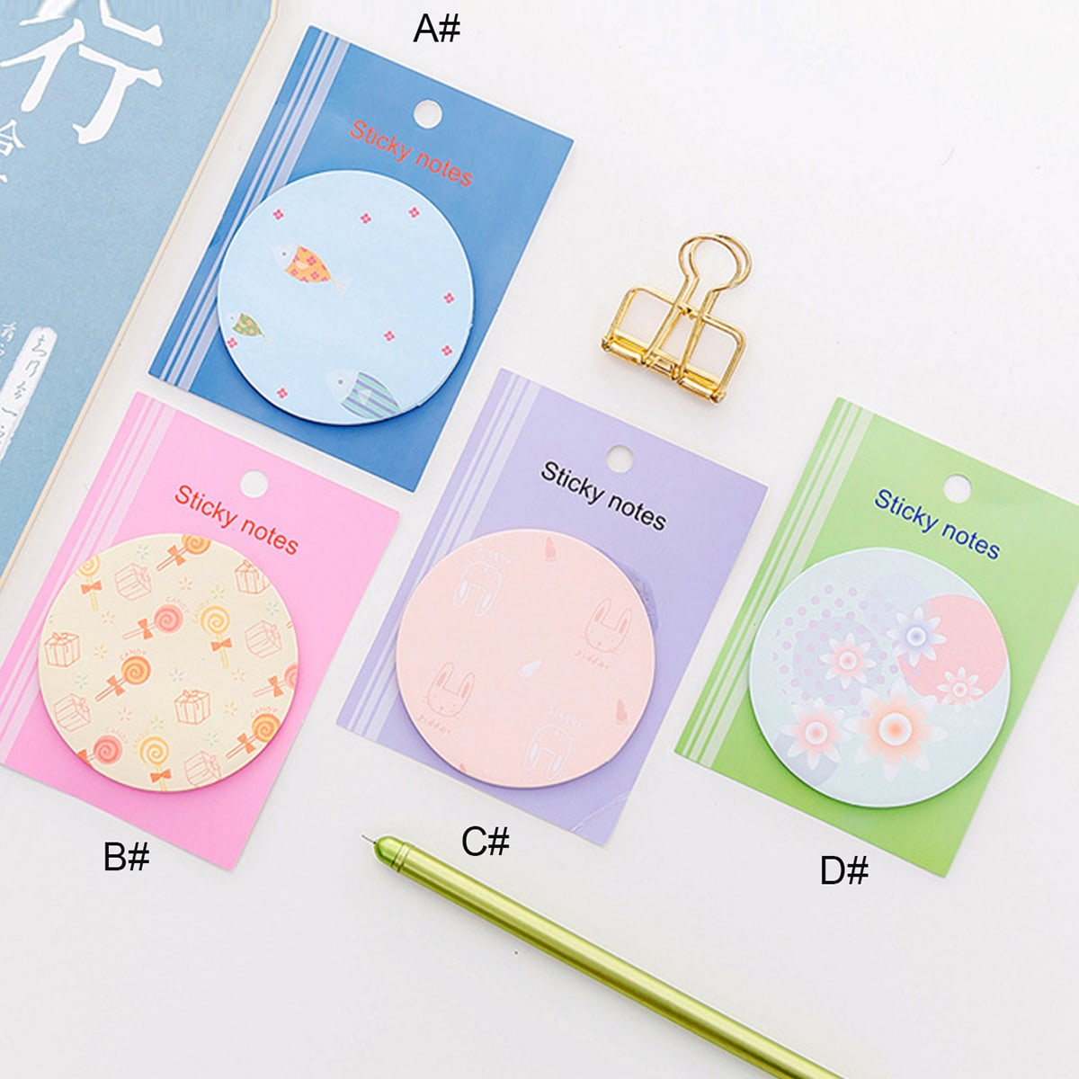 50sheets Lollipop & Floral Print Round Sticky Note