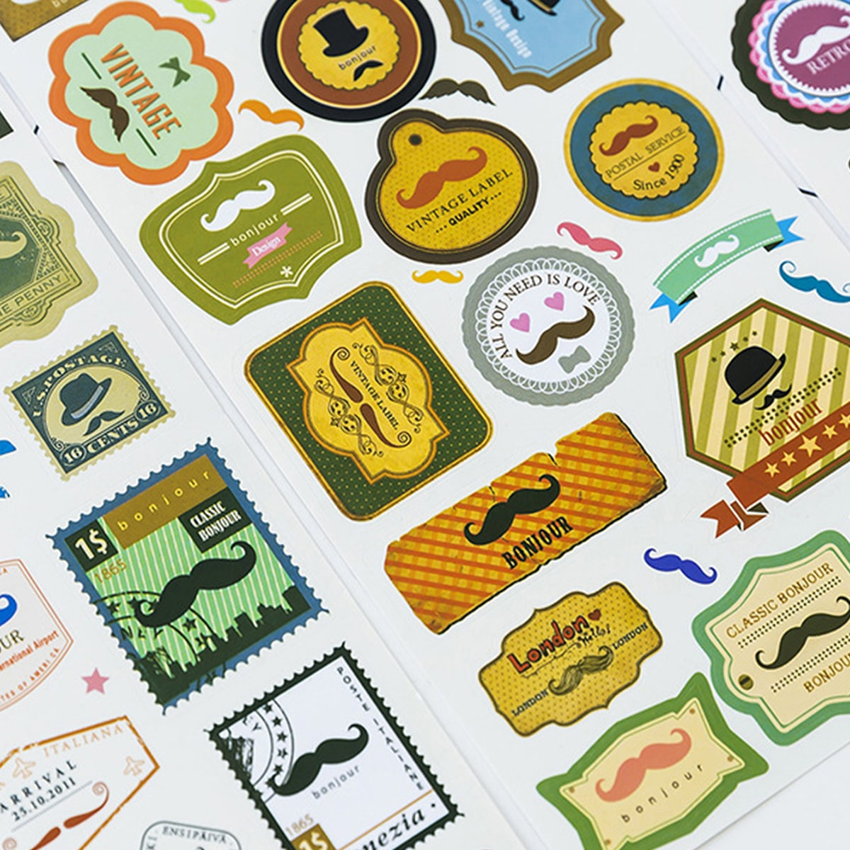 4sheets Moustache Print Sticker