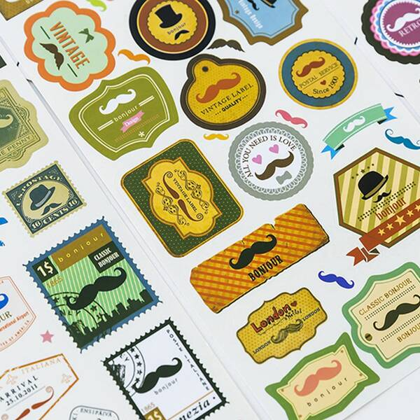 4sheets Moustache Print Sticker, Multicolor