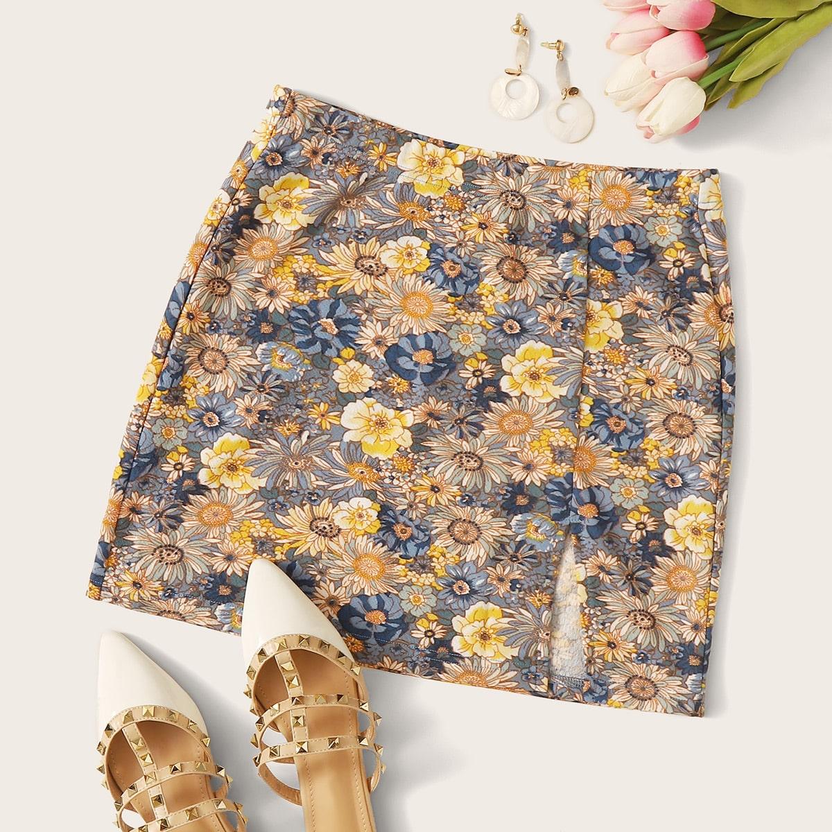 Цветочная юбка с эластичной талией и разрезом