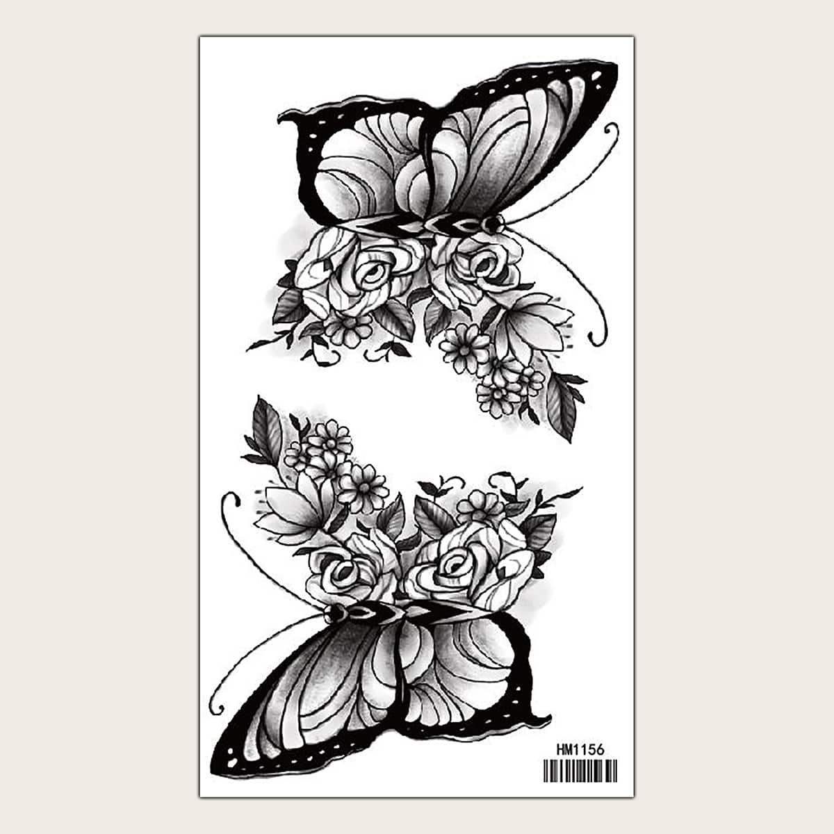 Autocollant de tatouage à motif fleur et papillon