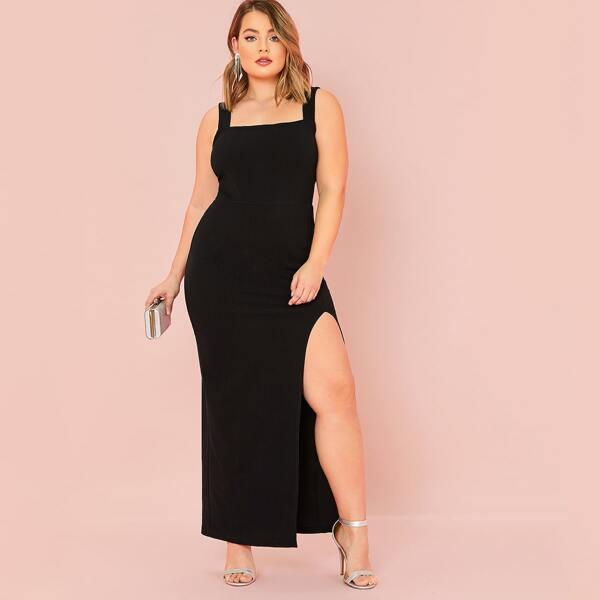 Plus Split Thigh Solid Maxi Dress, Black