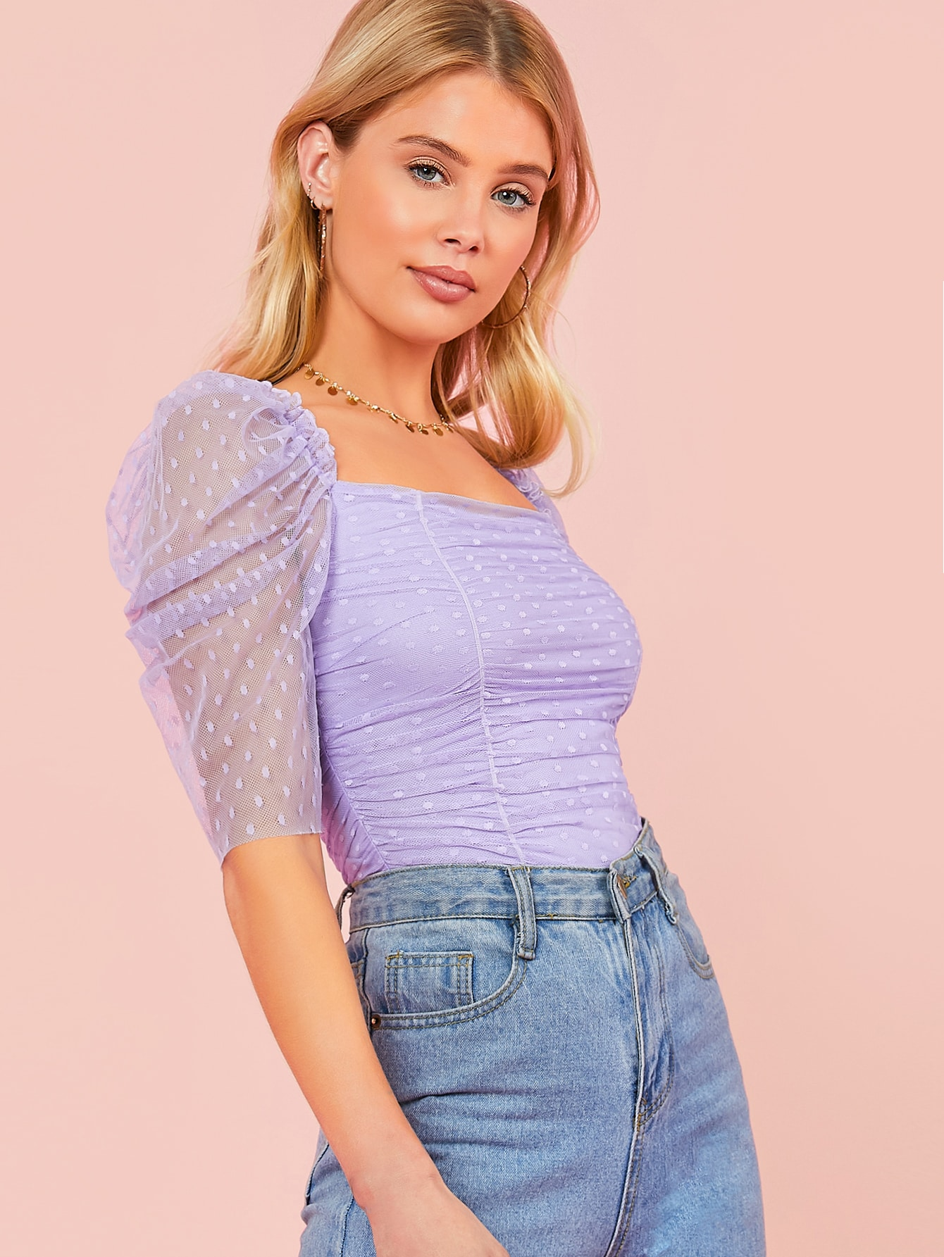 Puff Sleeve Ruched Detail Lace Top