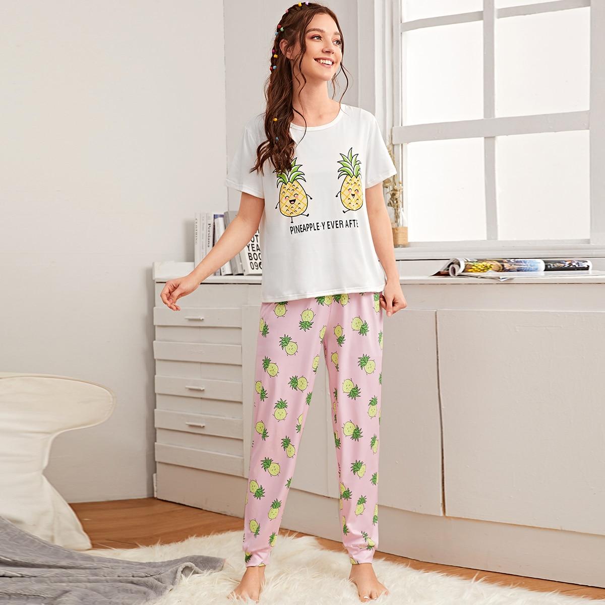 Schlafanzug Set mit Karikatur Ananas & Buchstaben Muster
