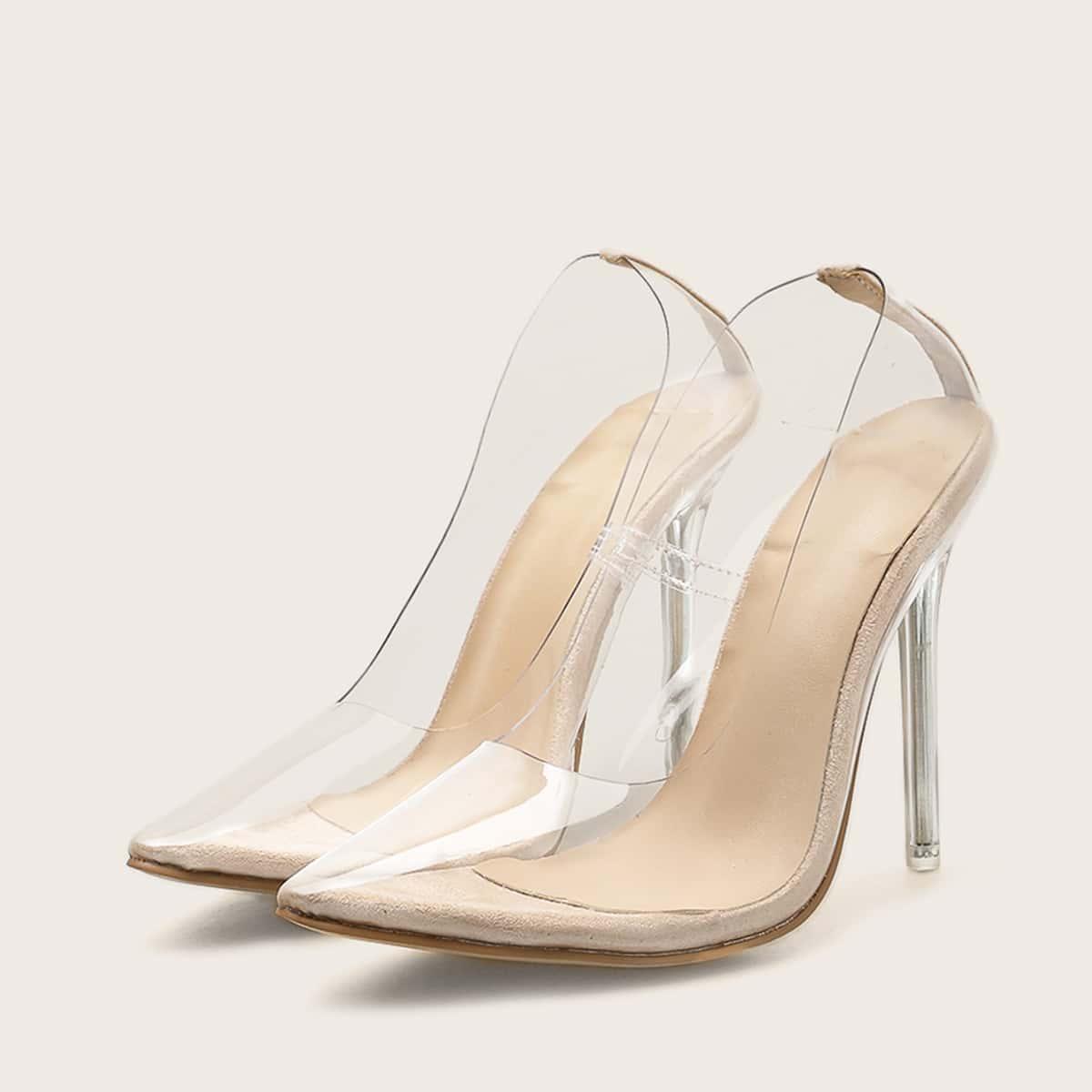 Прозрачные остроконечные туфли на каблуках