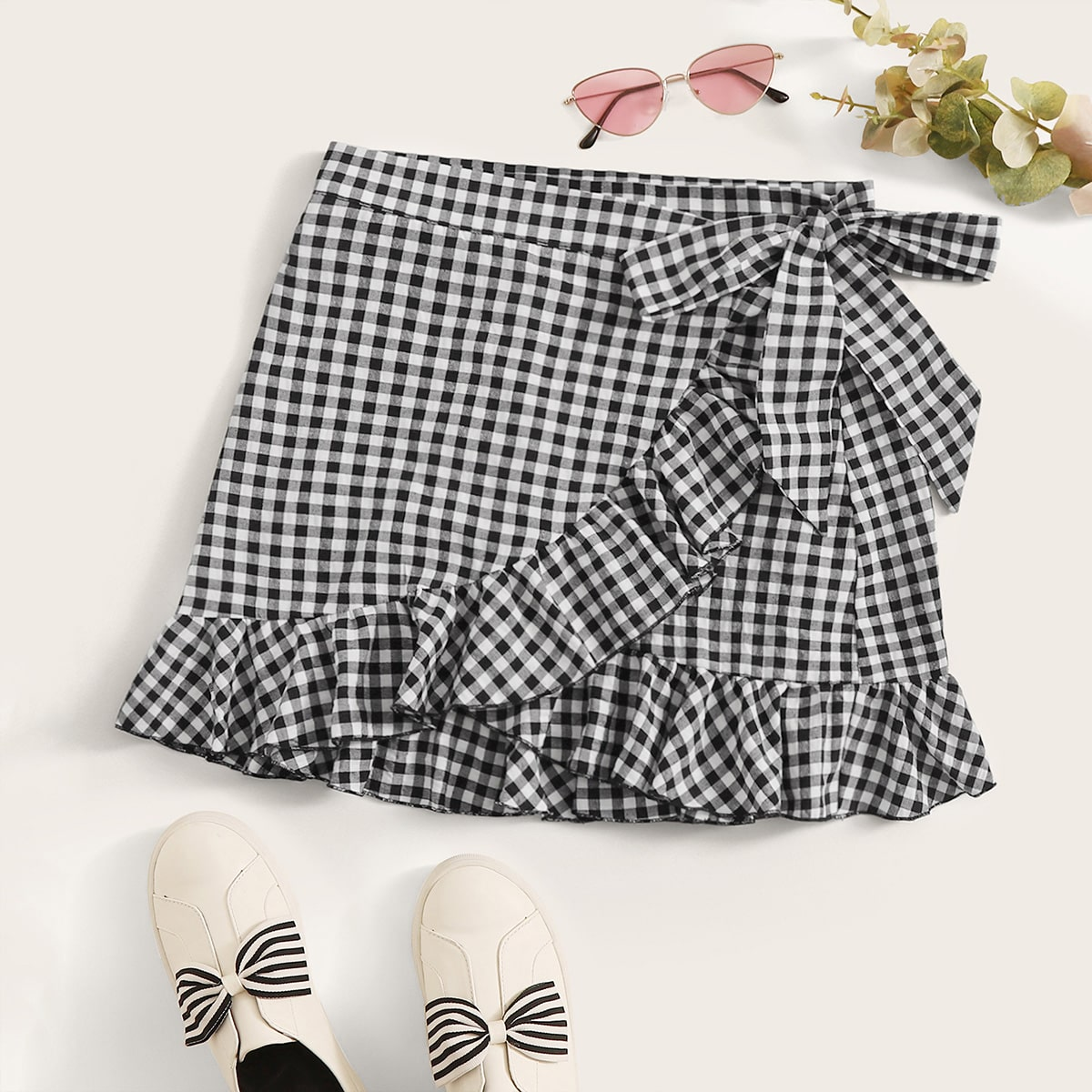 Gingham Ruffled Wrap Mini Skirt