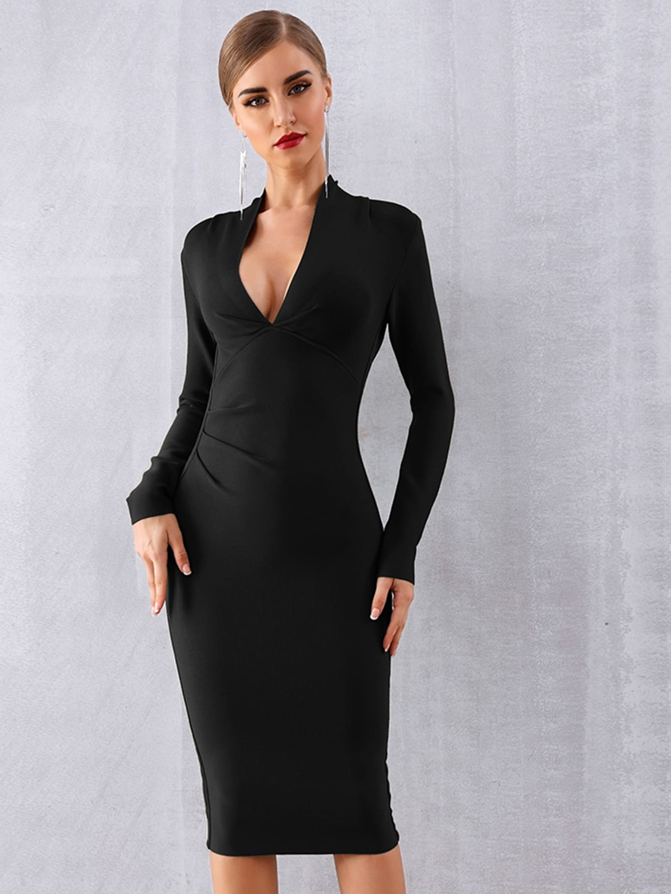 Plunging Neck Solid Bodycon Dress thumbnail