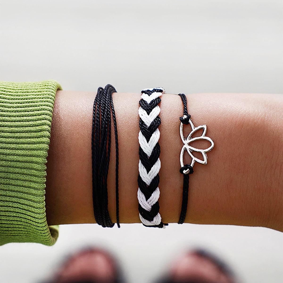 Плетеный браслет с декором лотоса 3шт