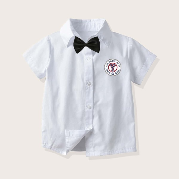Toddler Boys Letter Badge Print Bow Shirt, White