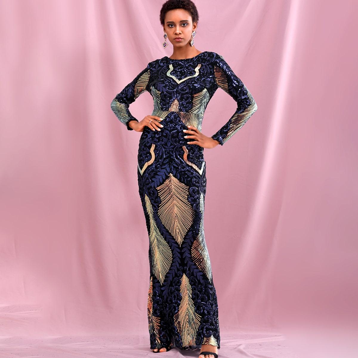 Damask Sequin Bodycon Dress