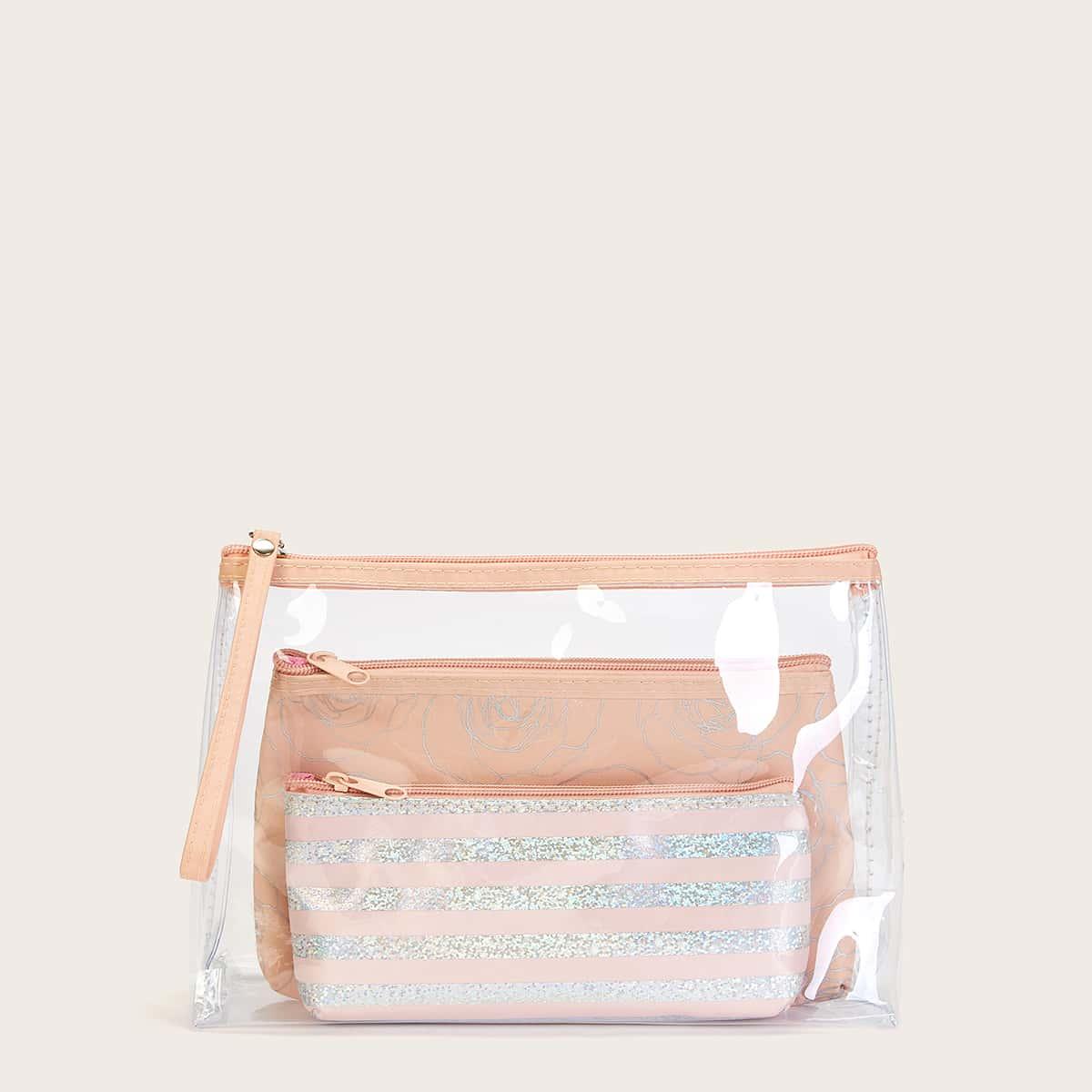Косметическая сумка с полосатым и цветочным узором 3шт