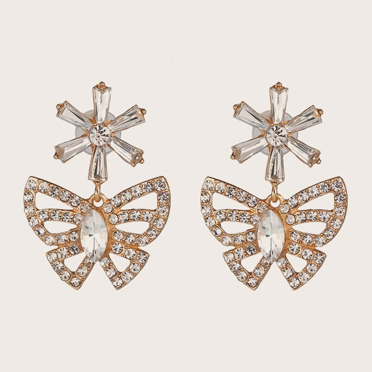 1pair Rhinestone Decor Butterfly Drop Earrings