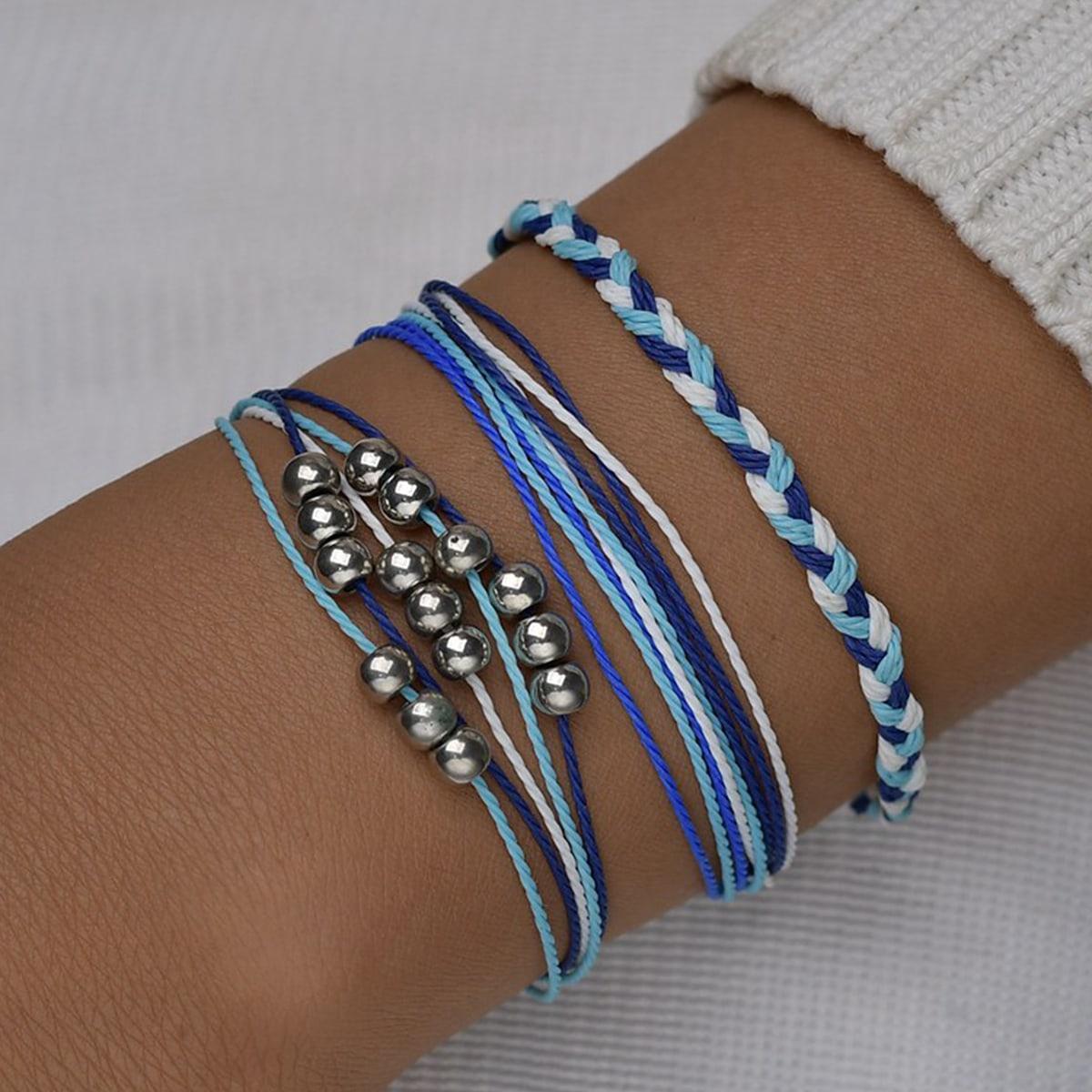 Плетеный струнный браслет с бусами 3шт
