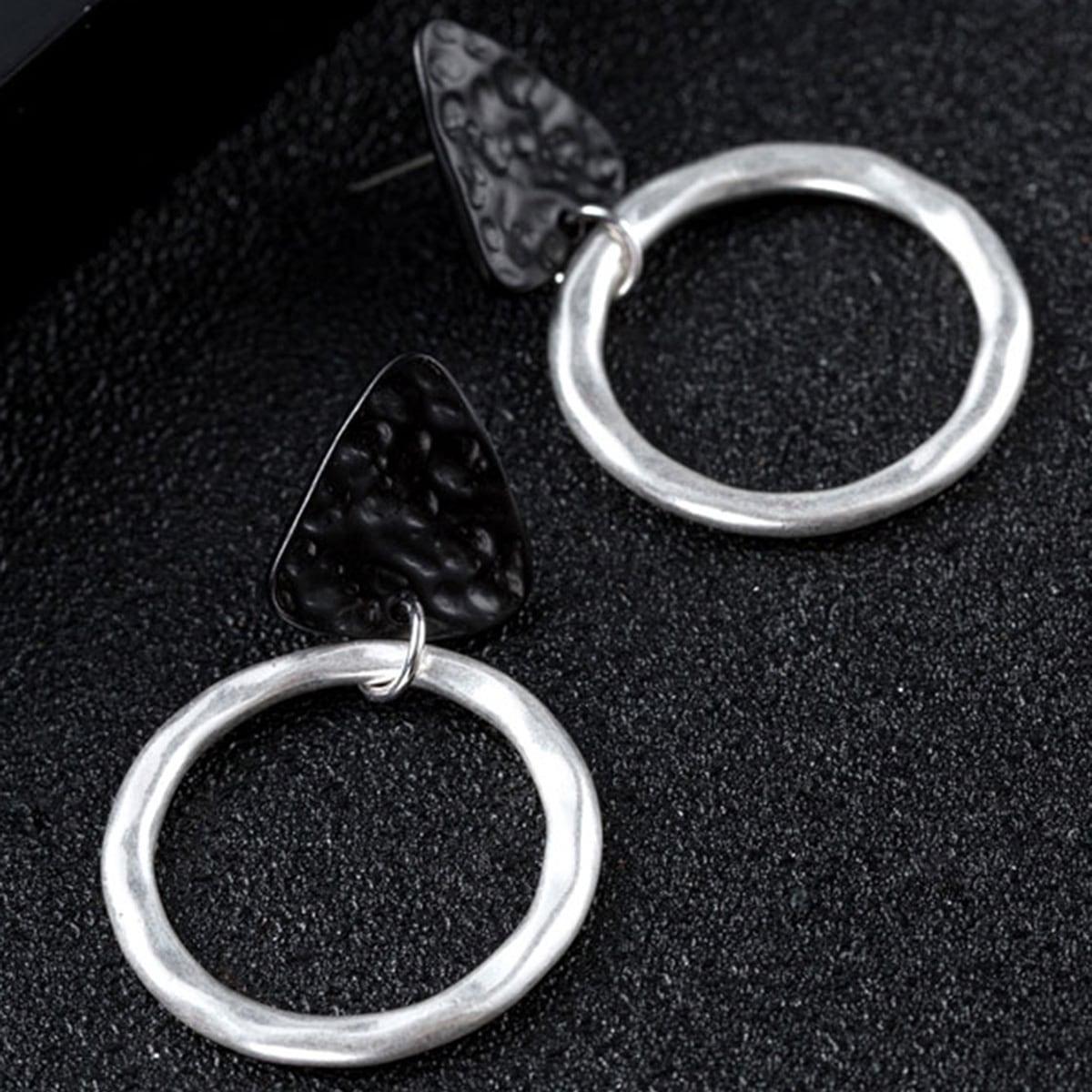 1pair Two Tone Textured Drop Earrings