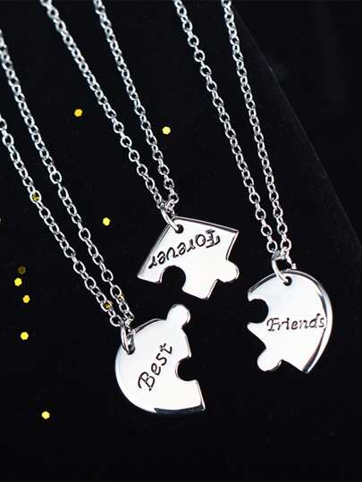 3pcs Letter Engraved Charm Necklace