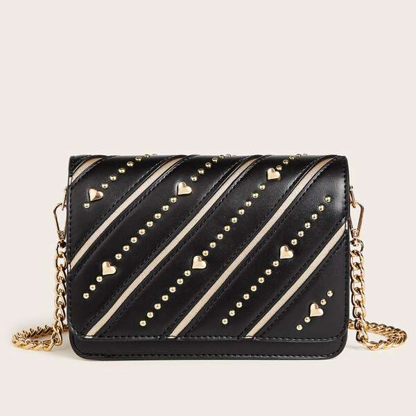 Striped Studded & Heart Decor Chain Crossbody Bag, Black