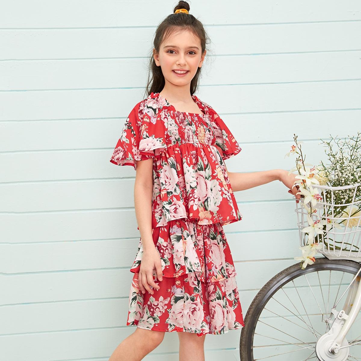 Многослойная юбка и топ с оригинальным рукавом для девочек