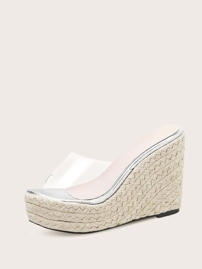 Clear Open Toe Espadrille Wedges Mules