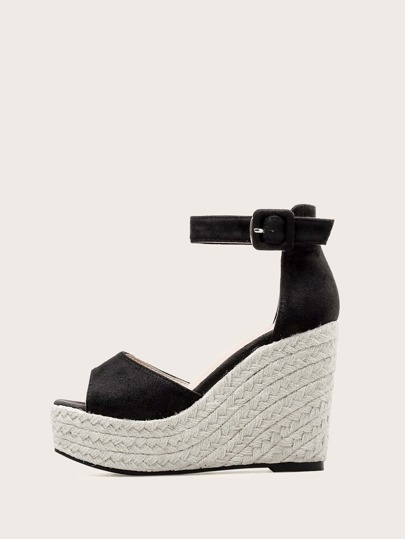 Peep Toe Ankle Strap Wedges