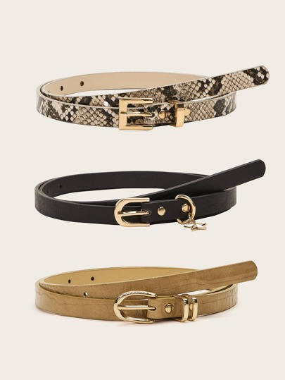 3pcs Snakeskin Print Star Charm PU Buckle Belt