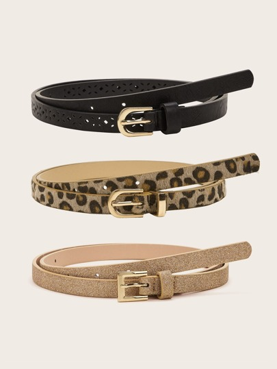 3pcs Hollow Out Leopard Print Buckle Belt