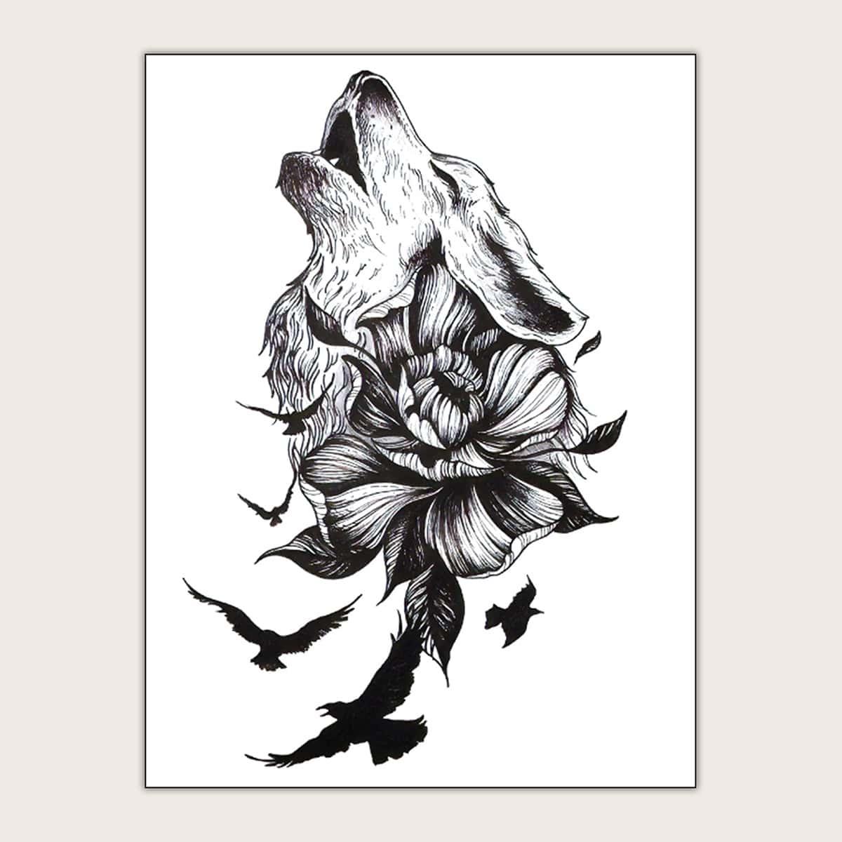 Тату-стикер с цветочным узором