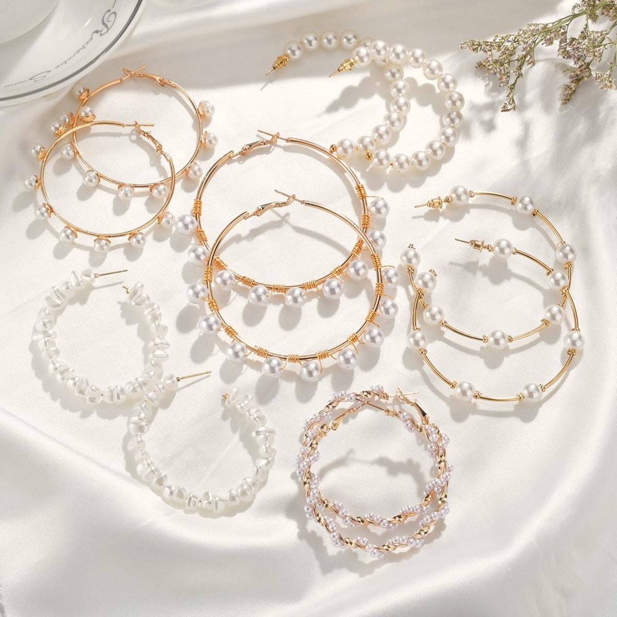 6pairs Pearl Decor Beaded Hoop Earrings