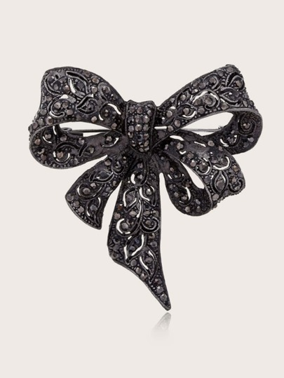 1pc Rhinestone Engraved Bow Design Brooch