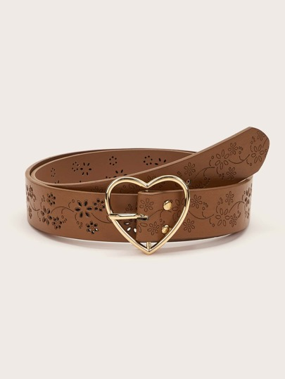 Floral Pattern Hollow Out Heart Buckle Belt