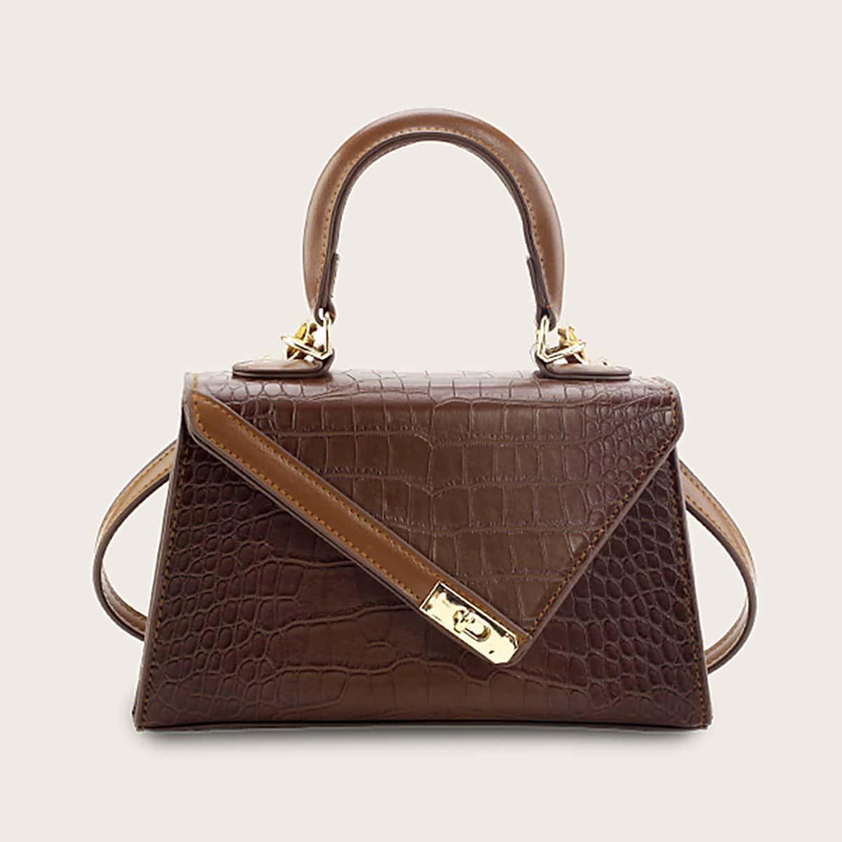 Croc Embossed Twist Lock Flap Satchel Bag