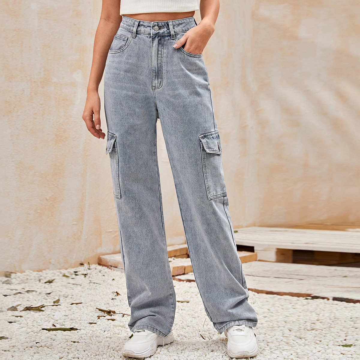 High Waisted Flap Pocket Side Baggy Jeans