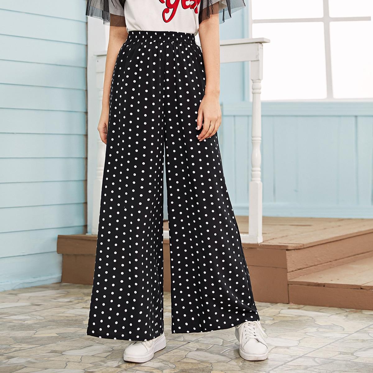 Hosen mit elastischer Taille und weitem Beinschnitt